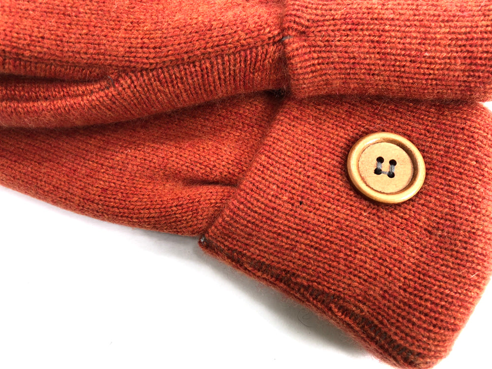 Orange Cashmere Wool Mittens - Medium - 1702