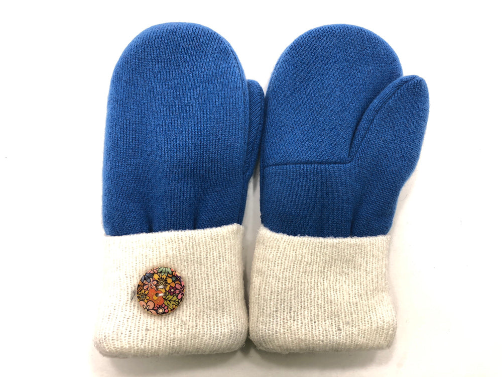 Blue-White Cashmere Wool Mittens - Medium - 1708 - The Mitten Company