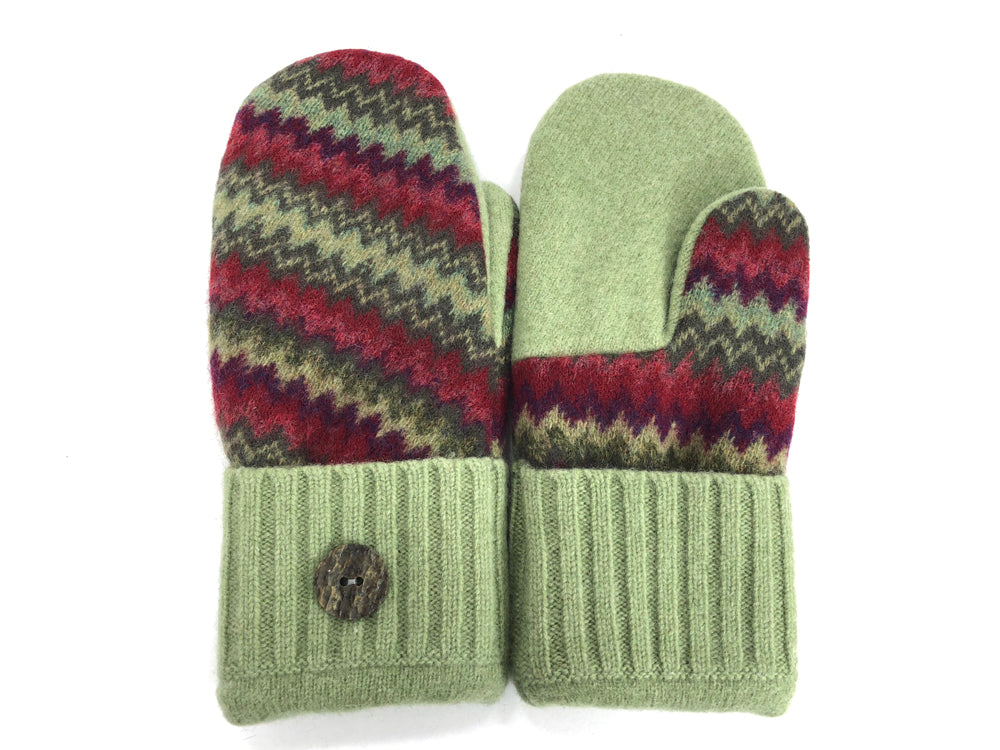 Green-Red Lambs Wool Mittens - Large - 1714