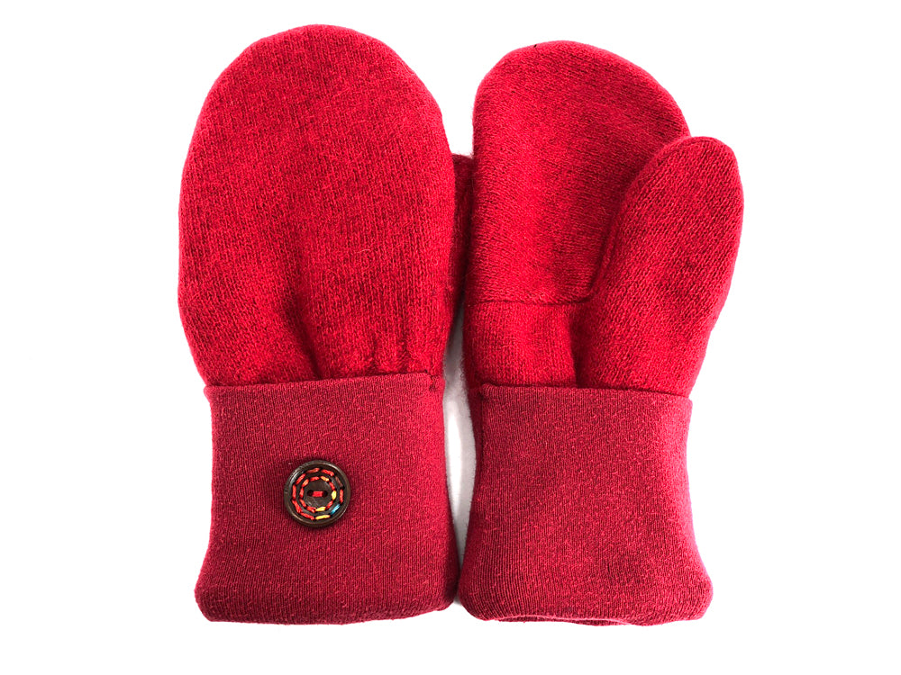 Red Lambs Wool Mittens - Large - 1716