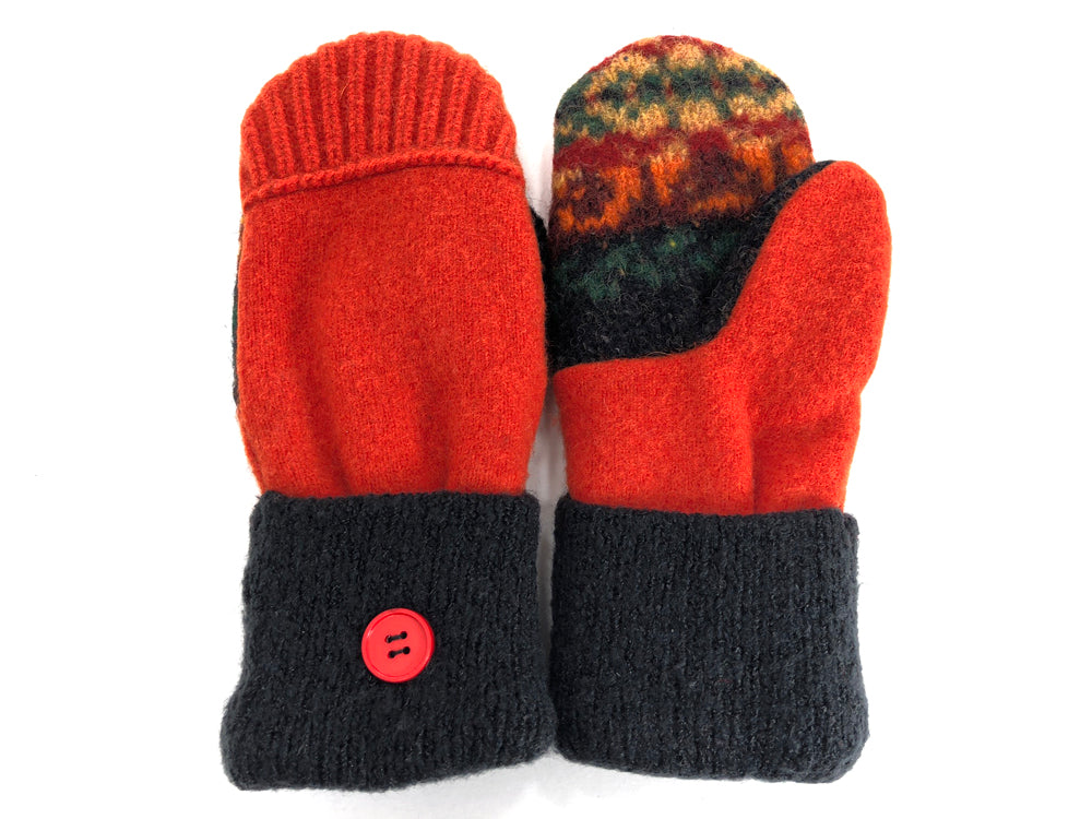 Orange-Black Lambs Wool Mittens - Large - 1718-Womens-The Mitten Company