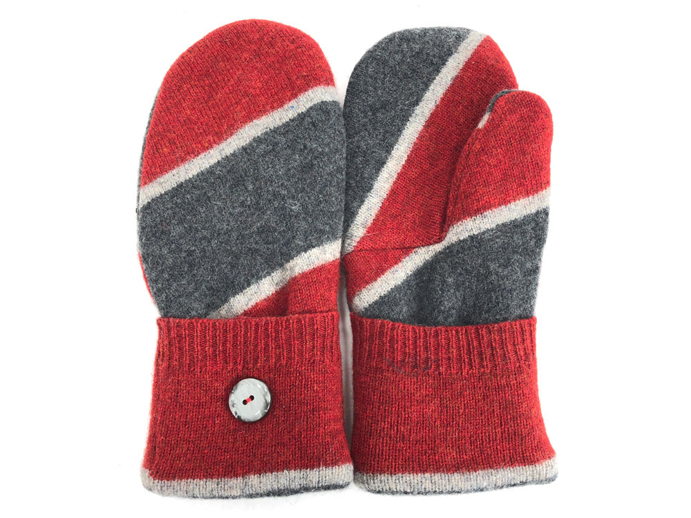 Red-Gray Lambs Wool Mittens - Large - 1722