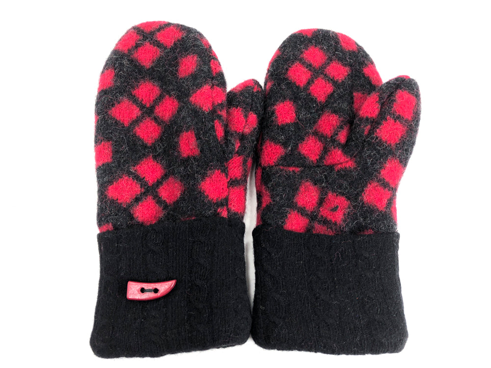 Red-Black Boiled Wool Mittens - Large - 1727