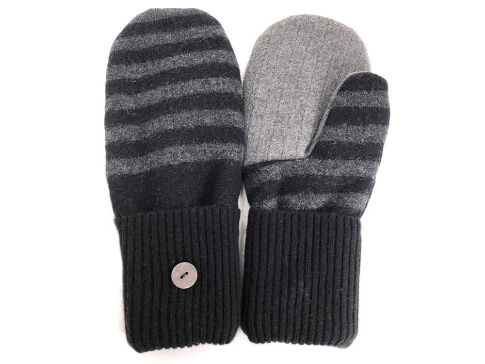 Black-Gray Merino Wool Mittens - Large - 1728 - The Mitten Company