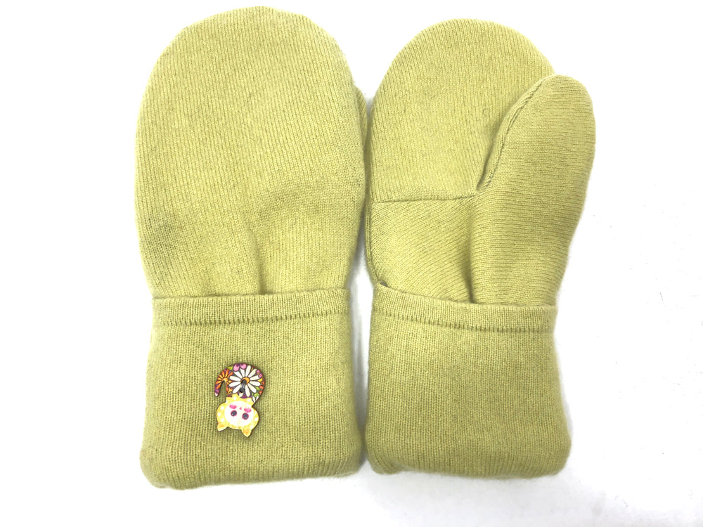 Green Cashmere Wool Mittens - Medium - 1740