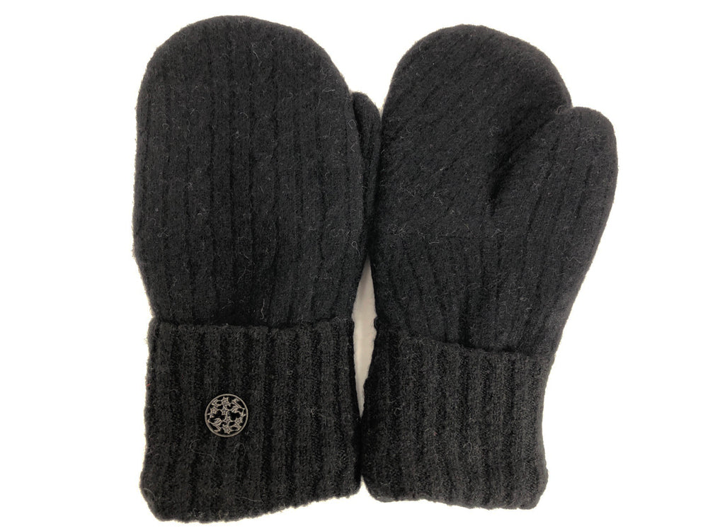 Black Cashmere Wool Mittens - Medium - 1744 - The Mitten Company