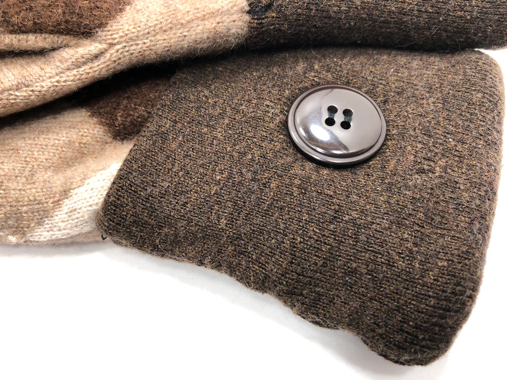 Brown-Tan Cashmere Wool Mittens - Medium - 1748 - The Mitten Company