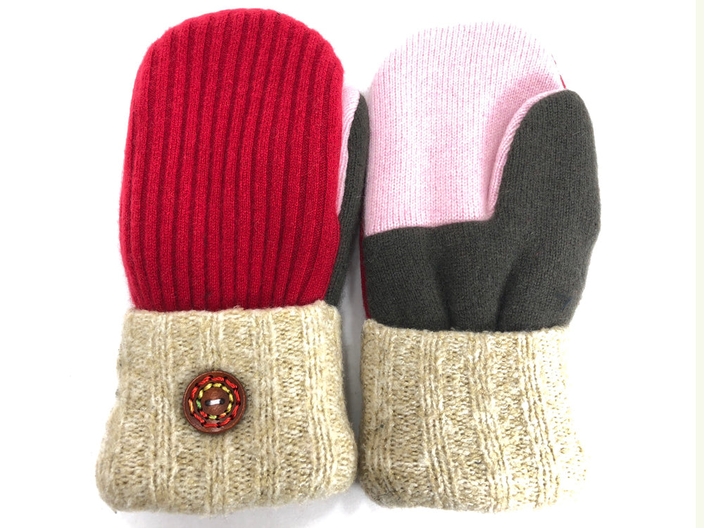 Gray-Red-Tan-Pink Cashmere Wool Mittens - Medium - 1759