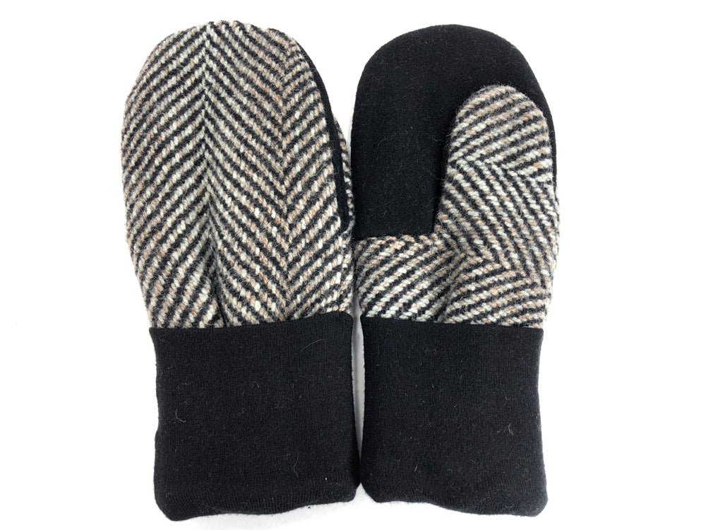 Black-Gray Men's Wool Mittens - Large - 1774 - The Mitten Company