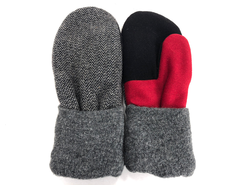 Red-Gray-Black Men's Wool Mittens - Large - 1792
