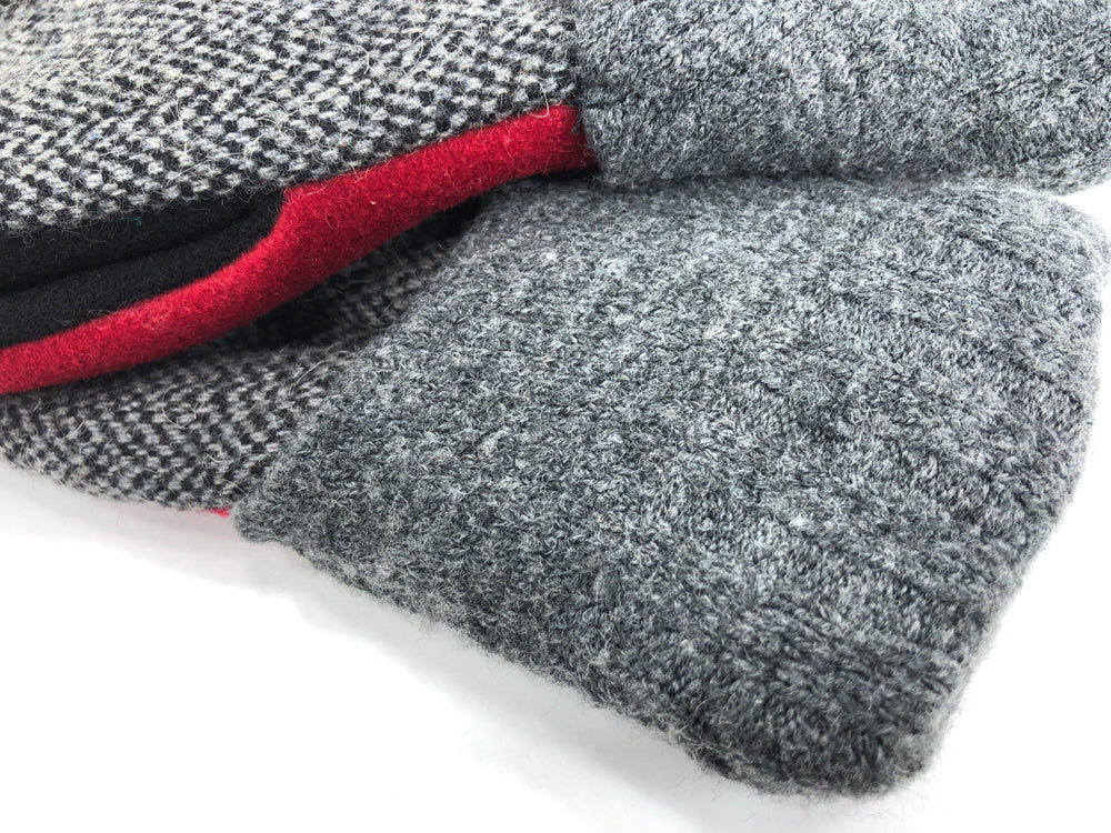 Red-Gray-Black Men's Wool Mittens - Large - 1792-Mens-The Mitten Company