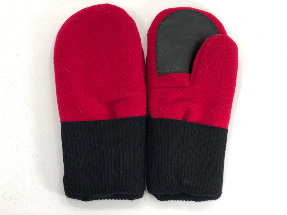 Red-Black Men's Wool Driver's Mittens - Large - 1801