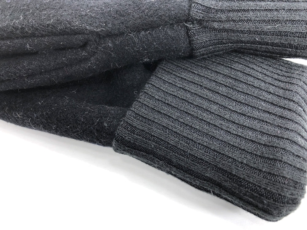Black Men's Wool Driver's Mittens - Large - 1804 - The Mitten Company