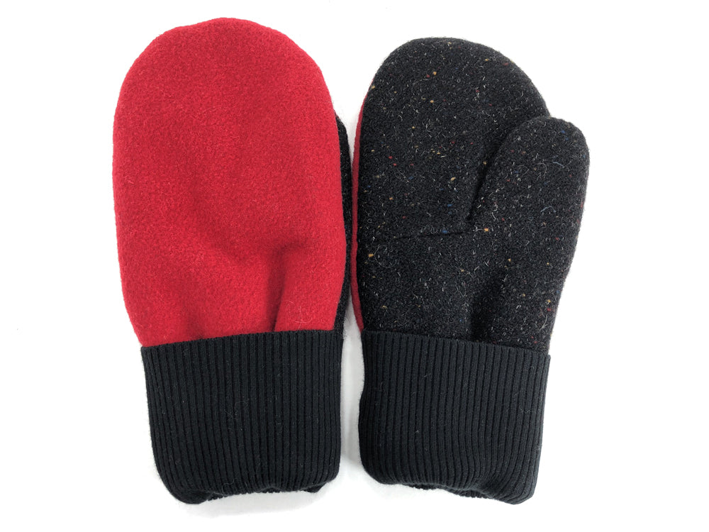 Black-Red Men's Wool Mittens - Large - 1808-Mens-The Mitten Company