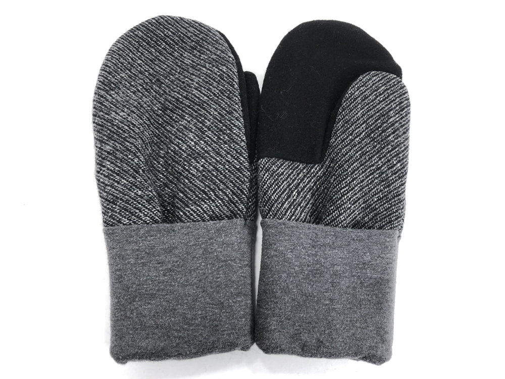 Black-Gray Men's Wool Mittens - Large - 1810-Mens-The Mitten Company