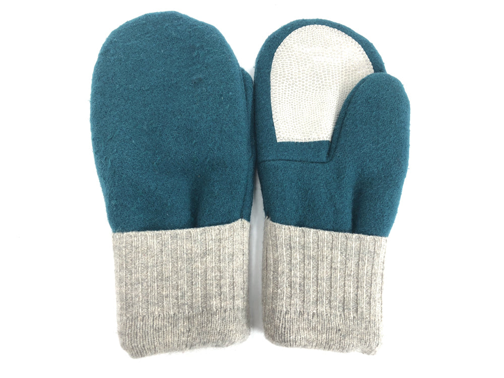 Teal-Gray Men's Wool Driver's Mittens - Large - 1820