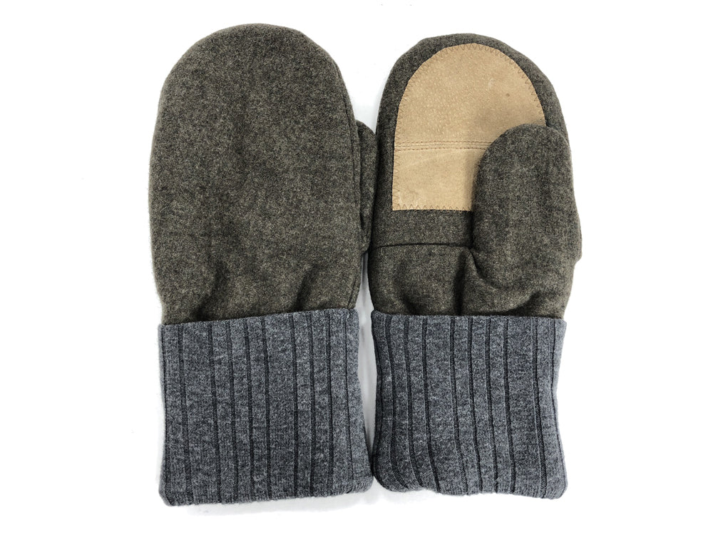 Green-Gray Men's Wool Driver's Mittens - Large - 1828