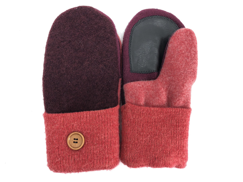Pink-Burgundy Boiled Wool Women's Driver's Mittens - Medium - 1835