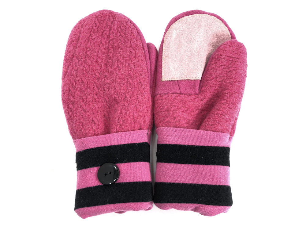Pink-Black Boiled Wool Women's Driver's Mittens - Medium - 1838