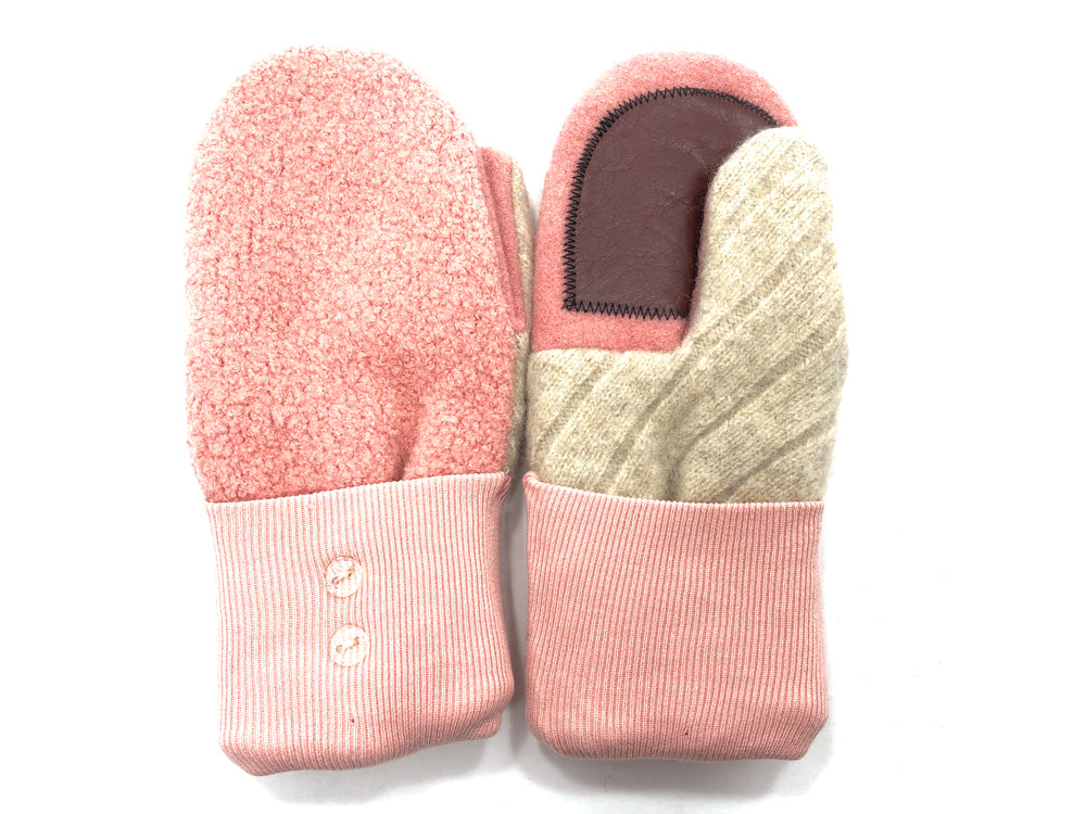 Pink-Gray Boiled Wool Women's Driver's Mittens - Medium - 1841