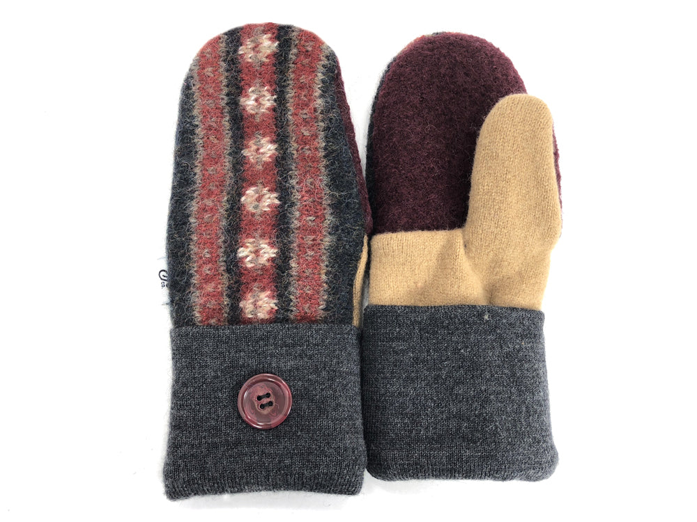 Burgundy-Gray-Tan Shetland Wool Mittens - Small - 1843