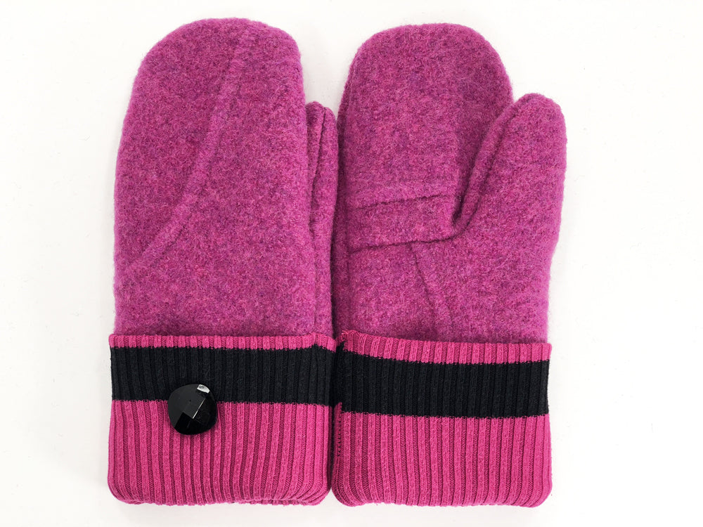 Pink-Black Boiled Wool Mittens - Small - 1856