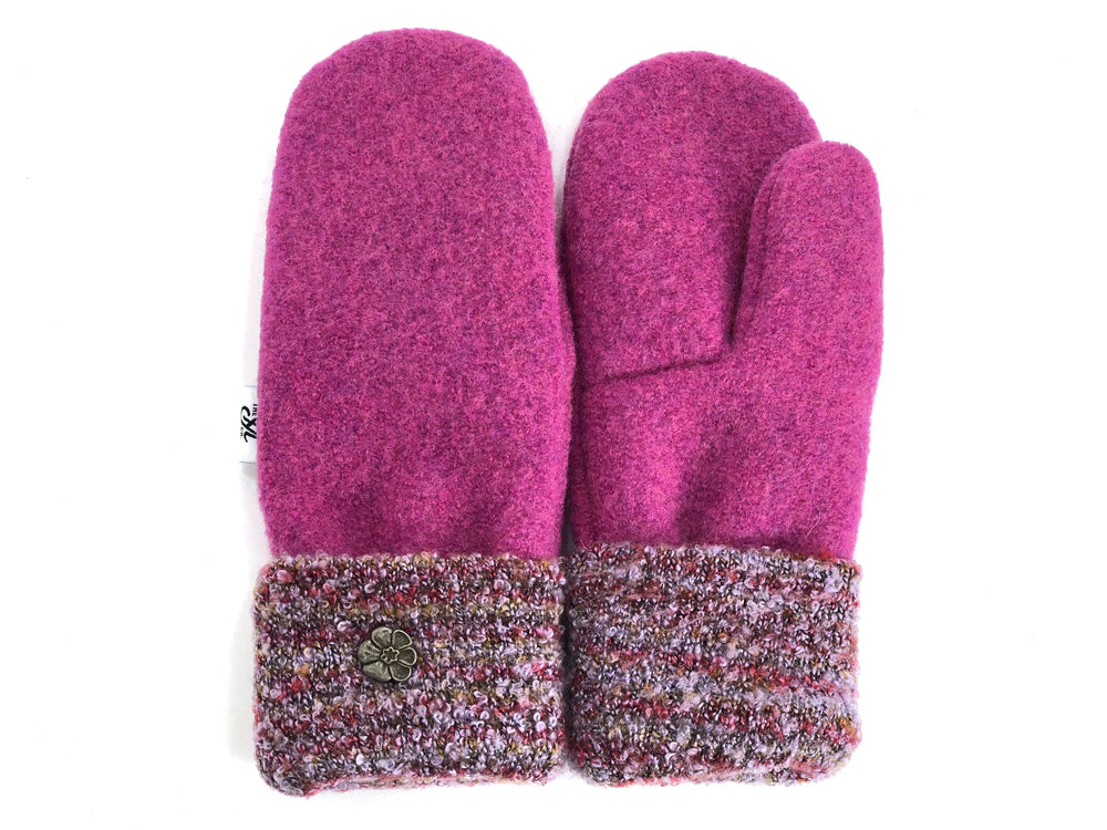 Pink Boiled Wool Mittens - Small - 1858