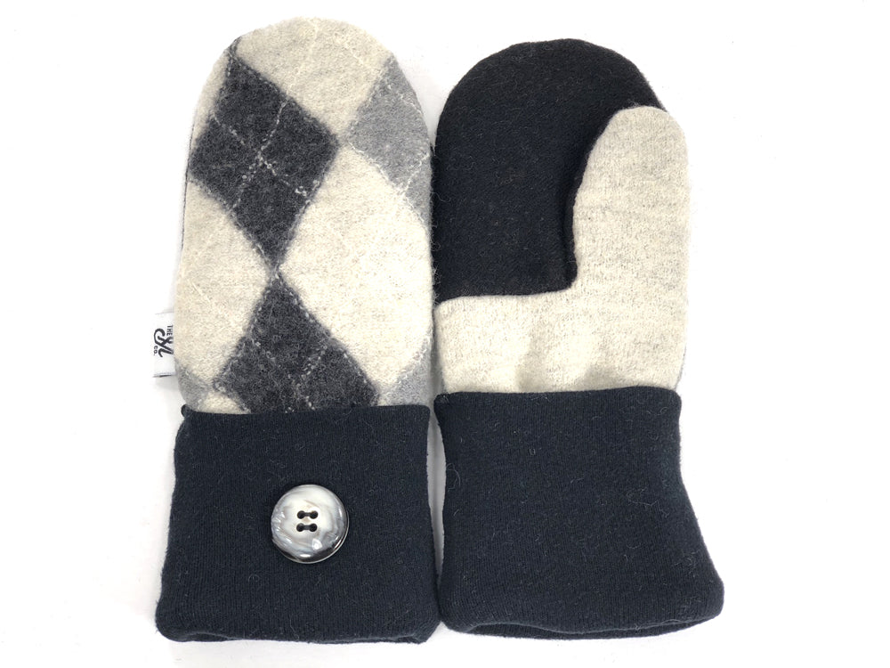 Black-Gray-Tan Merino Wool Mittens - Small - 1861 - The Mitten Company