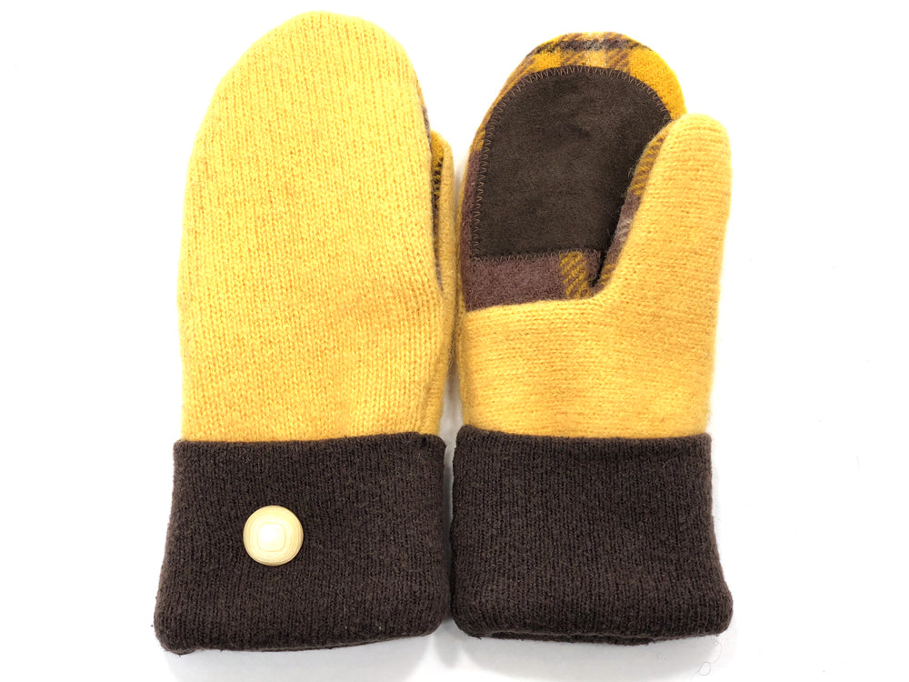 Brown-Yellow Merino Wool Women's Drivers Mittens - Small - 1881