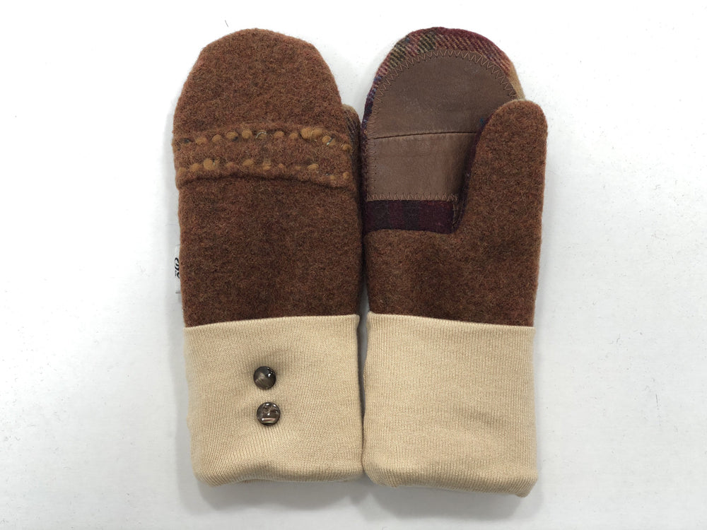 Brown-Tan Boiled Wool Women's Drivers Mittens - Small - 1886