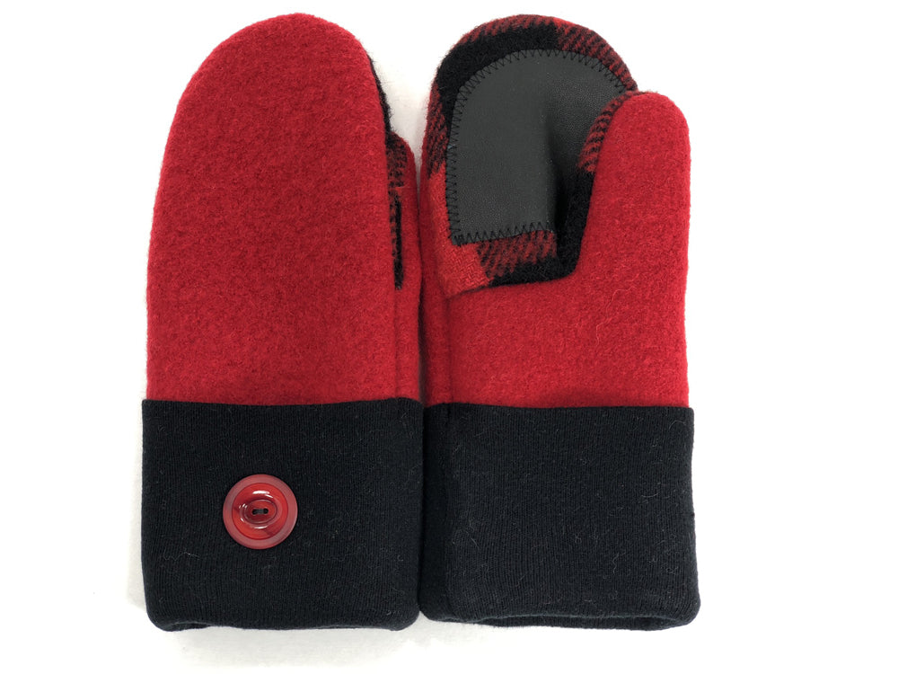 Red-Black Boiled Wool Women's Drivers Mittens - Small - 1887