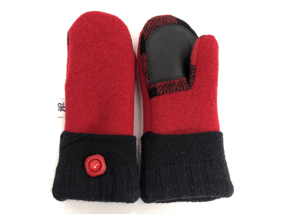 Red-Black Boiled Wool Women's Drivers Mittens - Small - 1889