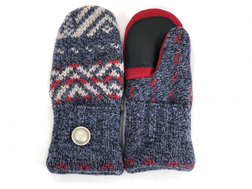 Gray-Red Shetland Wool Women's Drivers Mittens - Small - 1890