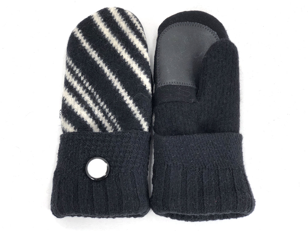 Black-White Shetland Wool Women's Drivers Mittens - Small - 1894 - The Mitten Company