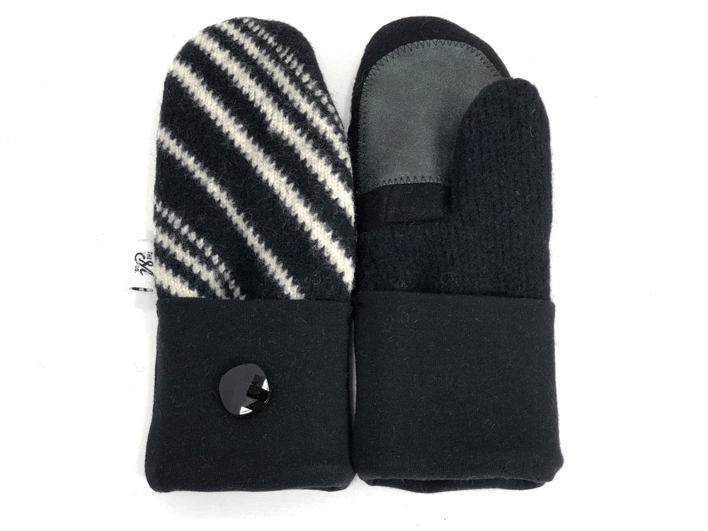 Black-White Shetland Wool Women's Drivers Mittens - Small - 1897 - The Mitten Company