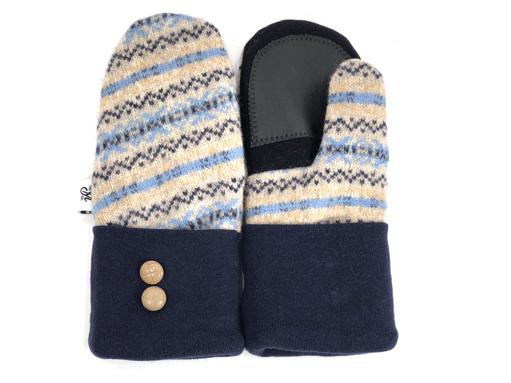 Blue-Tan-Black Lambs Wool Women's Drivers Mittens - Small - 1902 - The Mitten Company