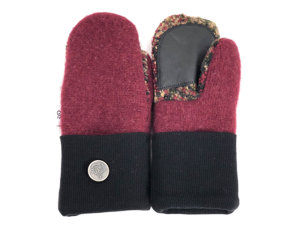 Black-Burgundy Lambs Wool Women's Drivers Mittens - Small - 1905 - The Mitten Company