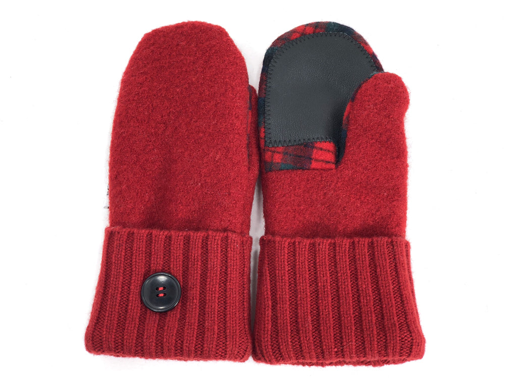 Red-Black Lambs Wool Women's Drivers Mittens - Small - 1911