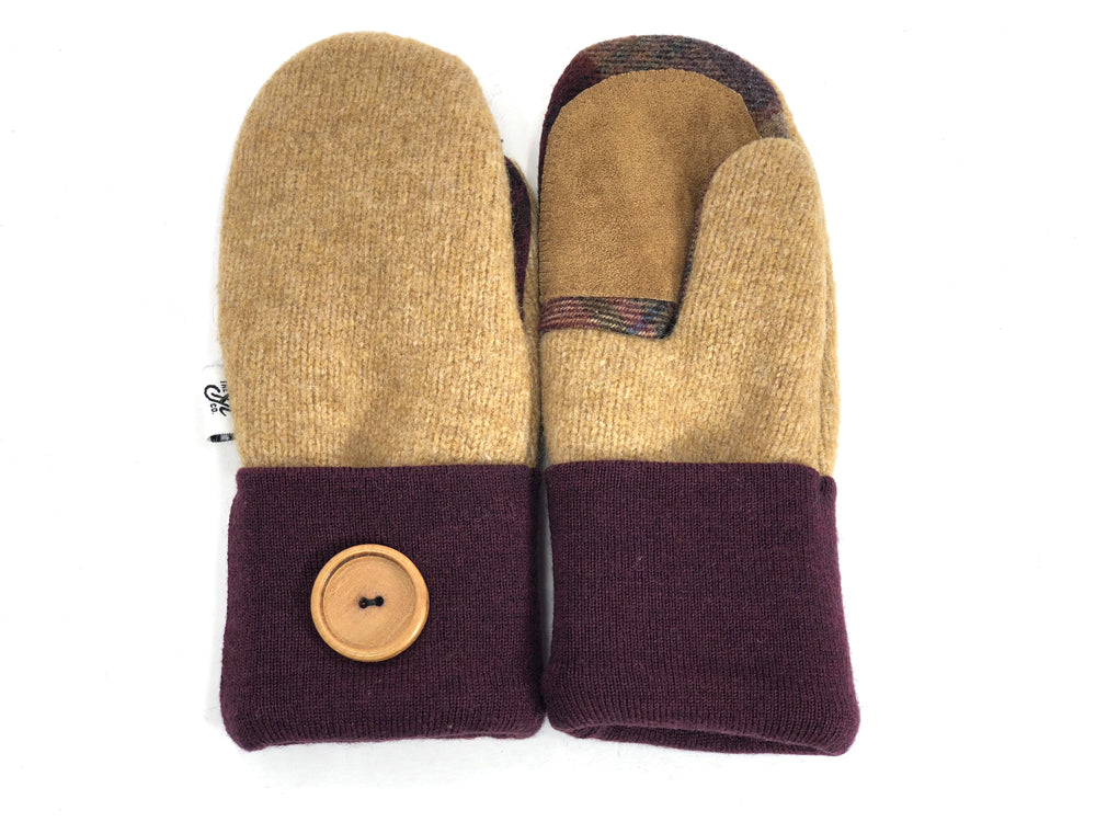 Burgundy-Beige Lambs Wool Women's Drivers Mittens - Small - 1912
