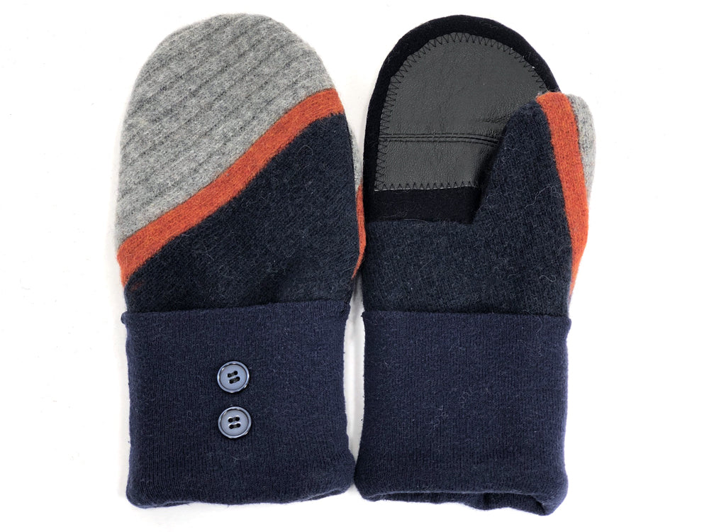 Blue-Gray-Rust Lambs Wool Women's Drivers Mittens - Medium - 1914 - The Mitten Company