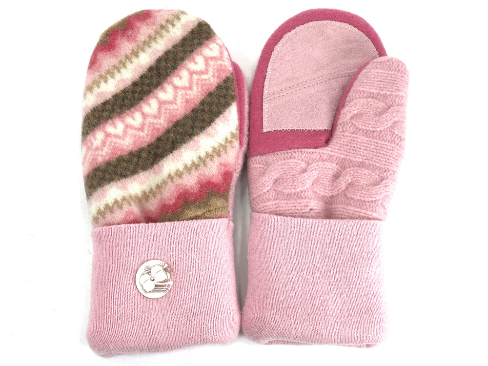 Pink-Brown Lambs Wool Women's Drivers Mittens - Medium - 1920