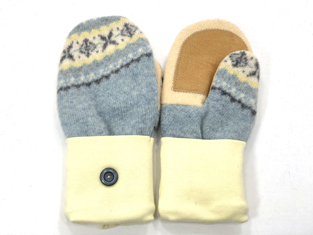 Blue-Yellow Lambs Wool Women's Drivers Mittens - Medium - 1921 - The Mitten Company