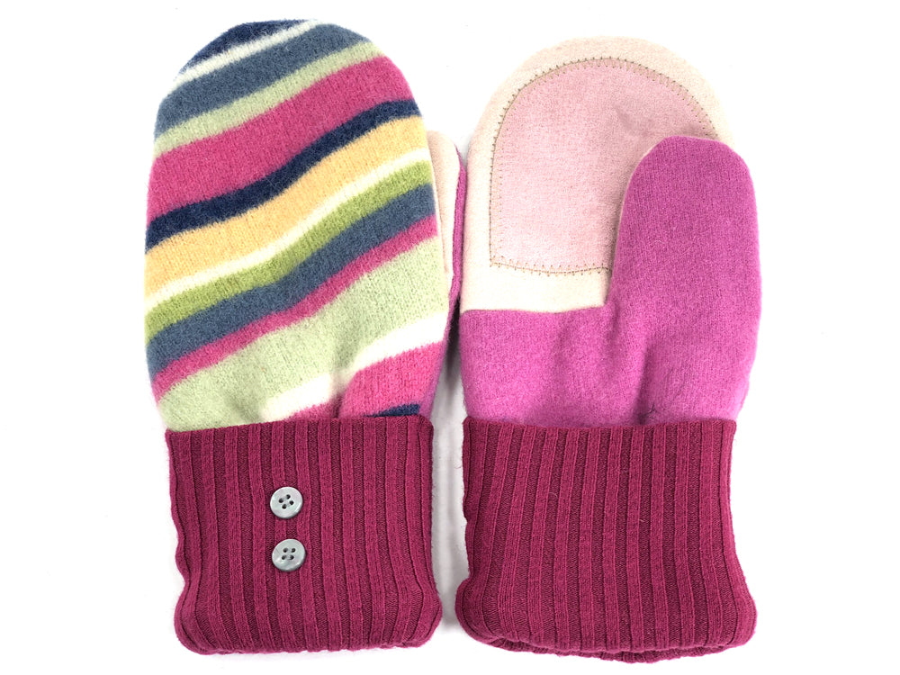 Pink-Green-Blue Lambs Wool Women's Drivers Mittens - Medium - 1925
