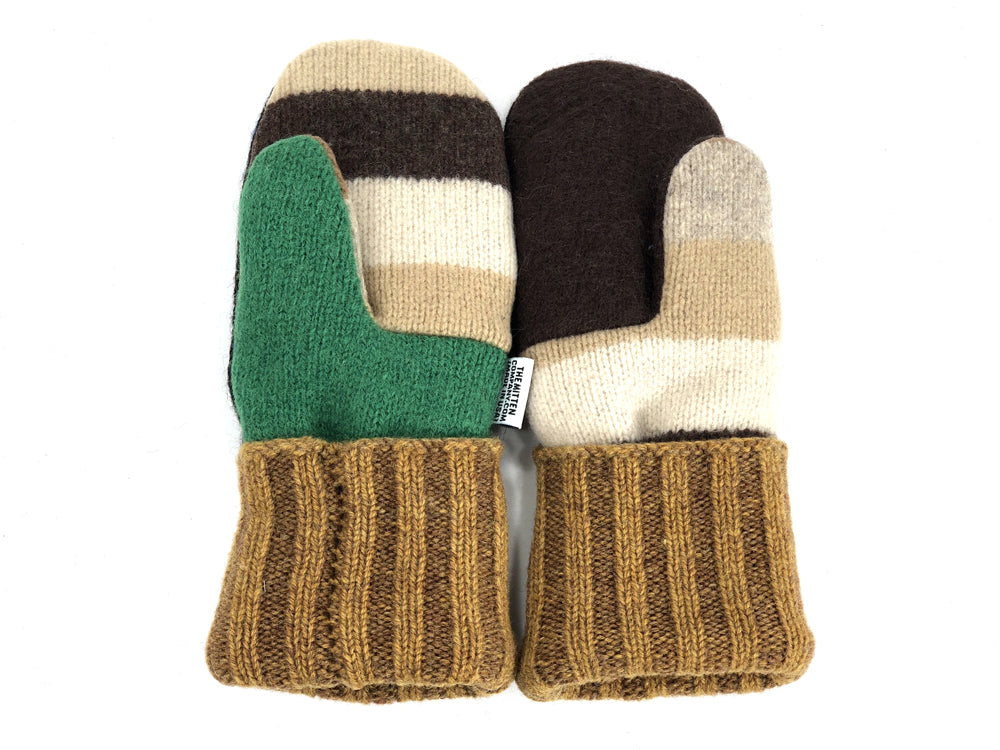 Beige-Black-Green Patchwork Women's Wool Mittens - Small - 1942 - The Mitten Company