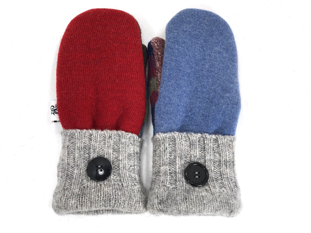 Blue-Gray-Red Patchwork Women's Wool Mittens - Small - 1945 - The Mitten Company