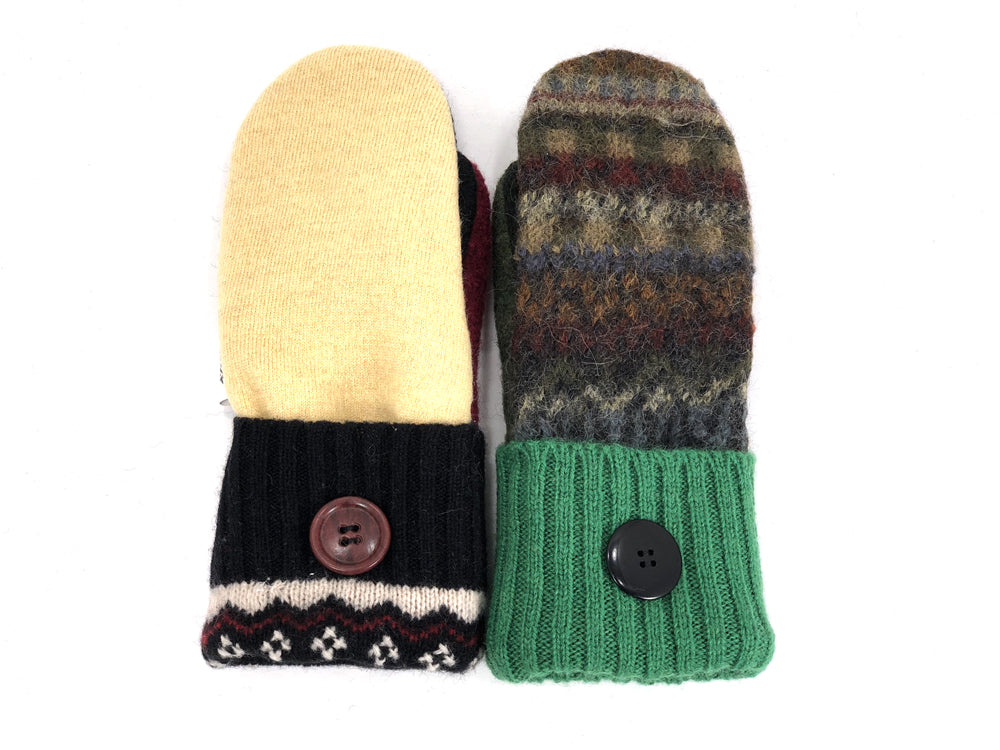Black-Green-Yellow Patchwork Women's Wool Mittens - Small - 1946-Womens-The Mitten Company