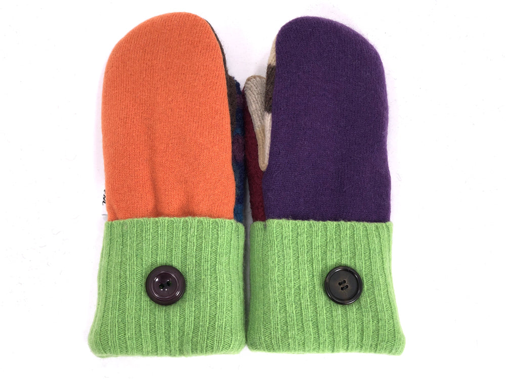 Green-Orange-Purple Patchwork Women's Wool Mittens - Small - 1947