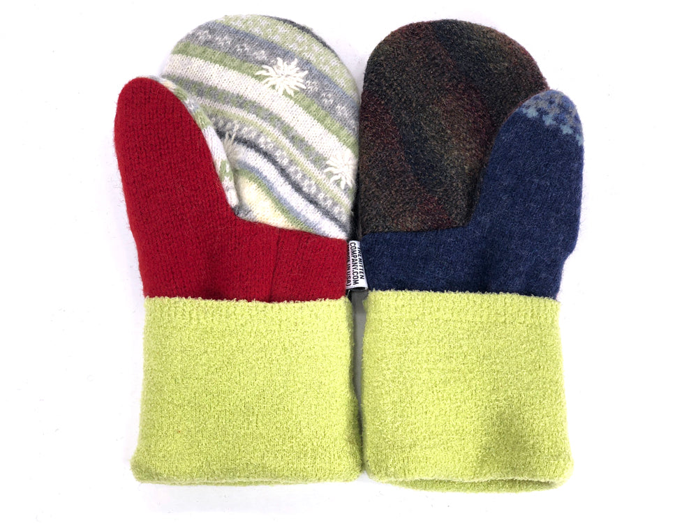 Red-Gray-Green Patchwork Women's Wool Mittens - Medium - 1955-Womens-The Mitten Company