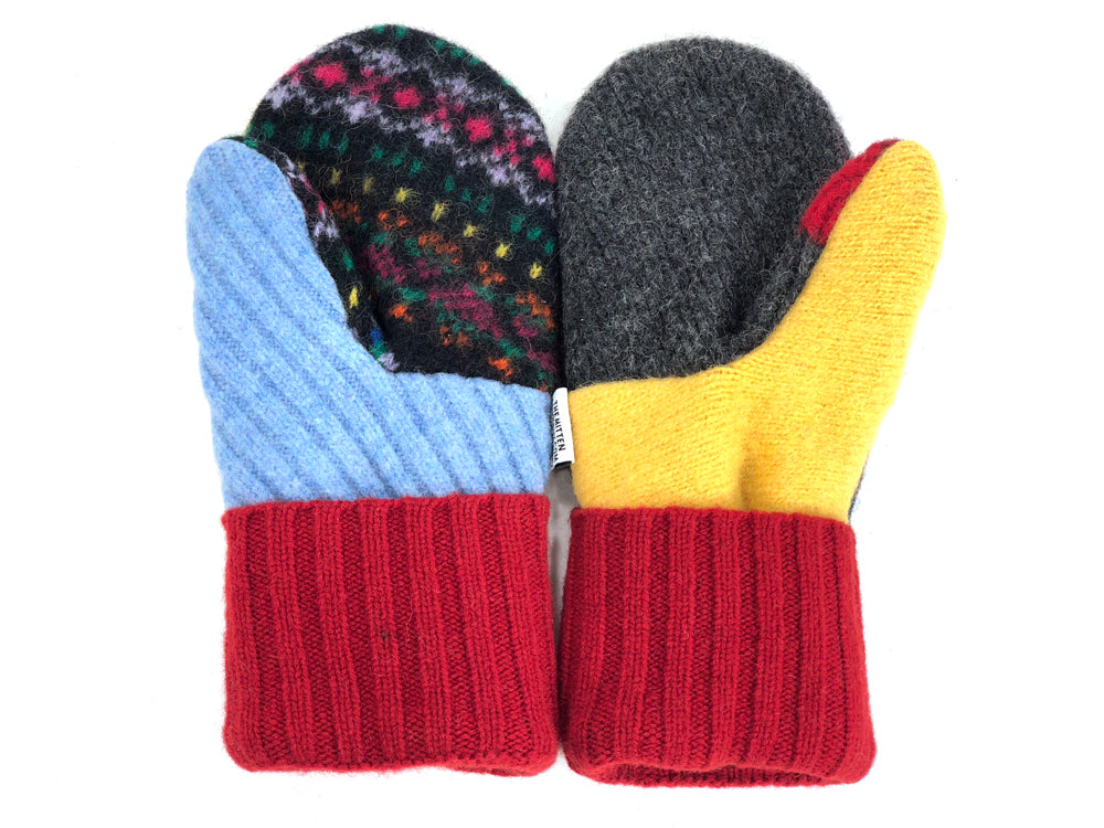 Blue-Yellow-Burgundy Patchwork Women's Wool Mittens - Medium - 1956-Womens-The Mitten Company
