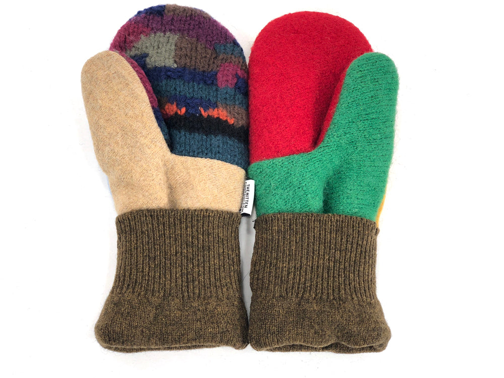 Brown-Yellow-Blue Patchwork Women's Wool Mittens - Medium - 1957